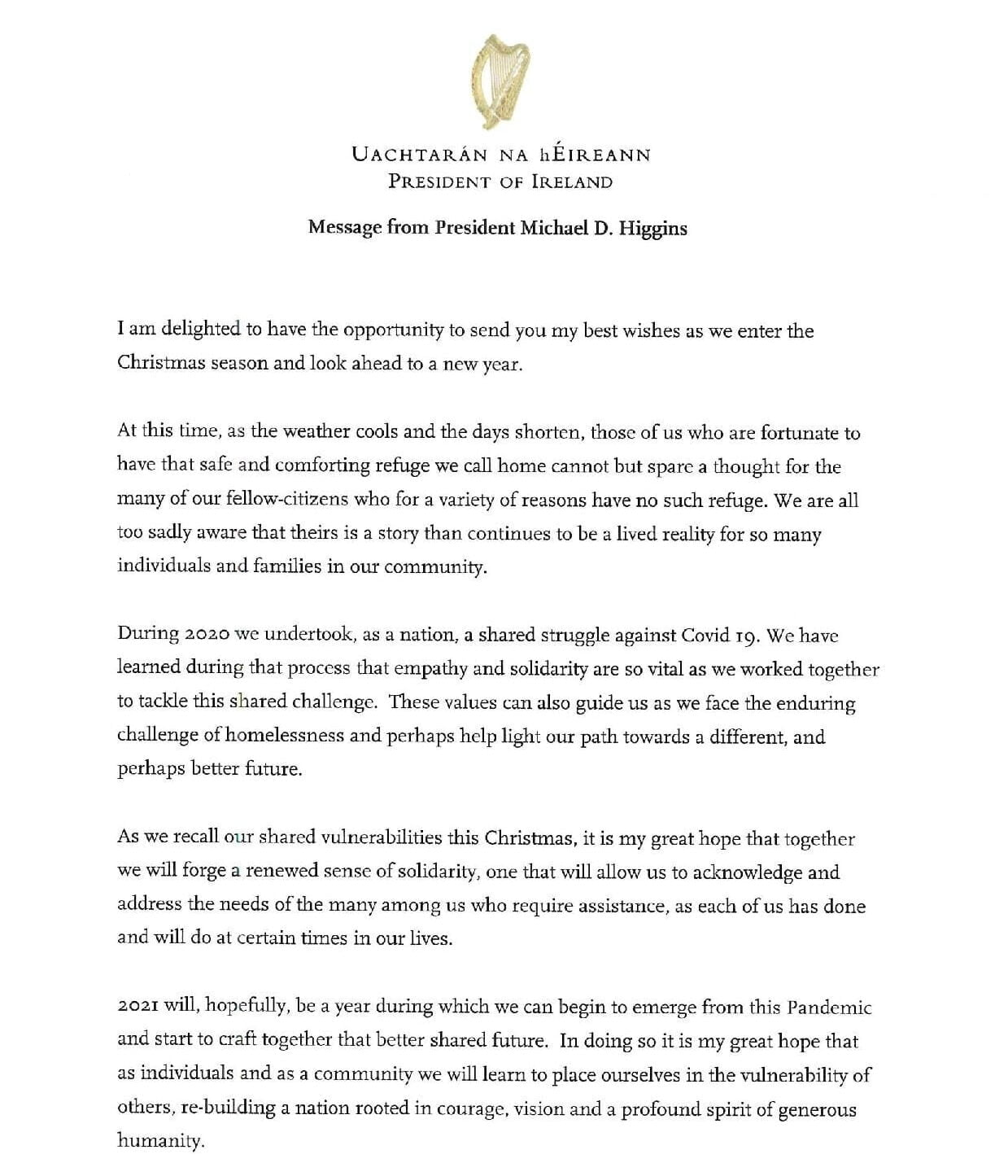 Message for Simon Community_from Michael D.Higgins_Pg1