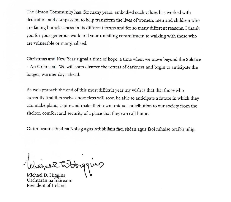 Message for Simon Community_from Michael D.Higgins_Pg2